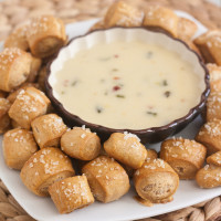 Whole Wheat Pretzel Bites with Roasted Jalapeño Cheese Sauce