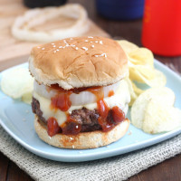 Southwestern Turkey-Cheddar Burgers with Chipotle-Poblano Ketchup