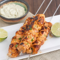 Chipotle Chicken Kebabs with Avocado Cream Sauce