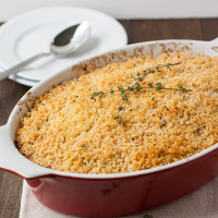 Butternut Squash, Apple, and Potato Gratin with Cheddar Crumb Topping
