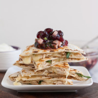 Leftover Turkey Jack Quesadillas with Cranberry Salsa